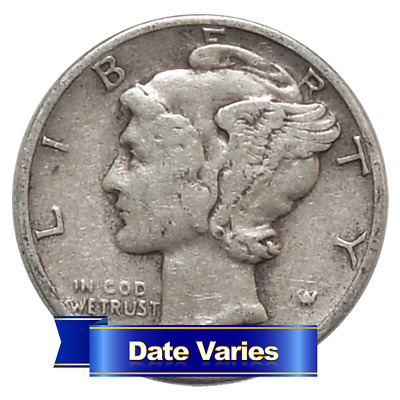 1916 to 1945 90% Silver Mercury Dimes Average Circulated $1 Face Value