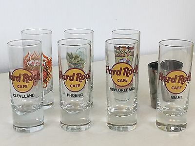Hard Rock Cafe & Planet Hollywood Collectible Shot Glasses ( Lot of 8 ) Tall 2oz