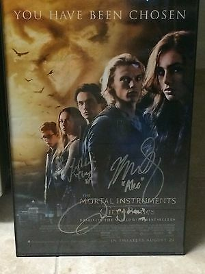 Autographed The Mortal Instruments City of Bones Movie Poster Lily Collins