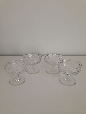 Set Of 4 Cut Glass Crystal Dessert Bowls