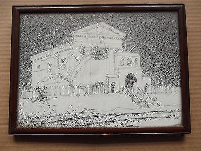 Very interesting Vintage Framed Pen and Ink drawing by E.Liddall Armitage