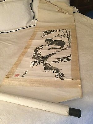 OLD OLD Vintage Antique Chinese Scroll Painting Grey Cat Signed & Stamped!