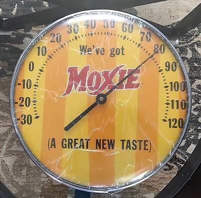 "Vintage Moxie Soda Pop 12 1/4"" Circular Thermometer Advertising Sign Ex. Cond."