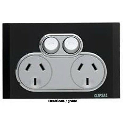 Clipsal Saturn Offer Double  Power Point  4025 EB  (Espresso Black)