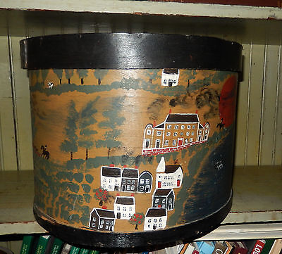 Primitive Americana Folk Art by KOOSED Hand Painted Wood Band Box Signed LOOK