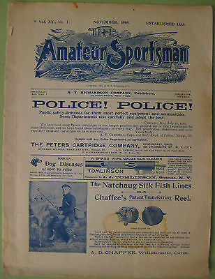 Antique 1898 The Amateur Sportsman Magazine--Hunting & Fishing 24 Pages