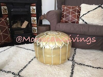 Moroccan Handmade Faux Leather Pouffe Gold with White embroidery