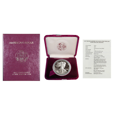 1987-S Proof $1 American Silver Eagle Box OGP & COA