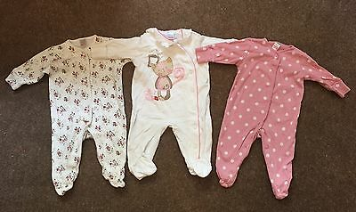Next Baby Girls Set Of 3 Pink & Cream Cat Floral Spot Sleepsuits Up To 3 Months