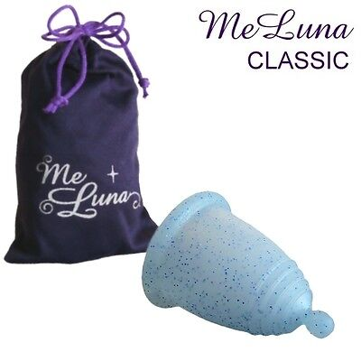 Me Luna Classic Menstrual Cup - Normal Length - Blue Glitter - Ball, Ring, Stem