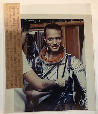 4x5 NASA Transparency Astronaut Malcolm Scott Carpenter Atlas Booster #NA5