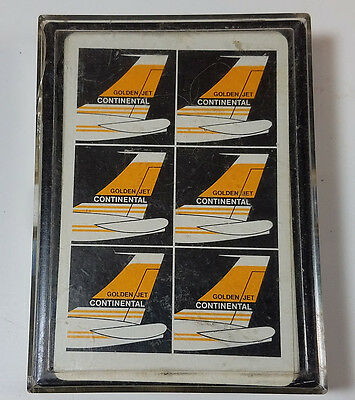 Vintage Continental Golden Jet Playing Cards Boeing 707 1960's Aviation
