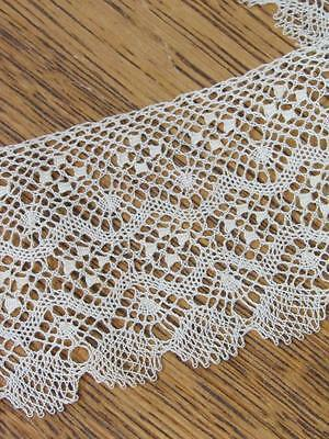 "ANTIQUE VINTAGE BOBBIN LACE TRIM Old-Stock Gorgeous 55"" x 3"" Wide"