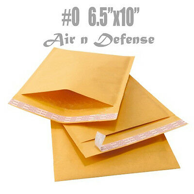 25 #0 KRAFT BUBBLE PADDED ENVELOPES MAILERS BAGS 6.5x 10 SELF SEAL A AirnDefense