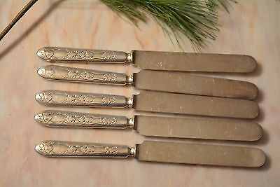 Vintage Art Deco Silverplate Warranted 12 Dwt Master Knives Set of 5