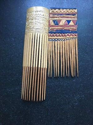 Lot Of 2 Wooden Tribal Hair Combs From New Guinea