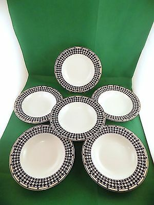 Royal Doulton Blue Geometrix Soup Bowls x 6