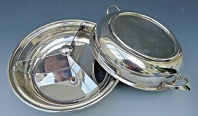 Antique DAVIS & SONS lidded silver plated entree serving dish with divider