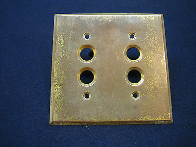 Antique Push Button Electrical Wall Switch Double Brass Plate Perkins