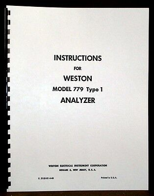 Weston 779 type 1 Analyzer Manual