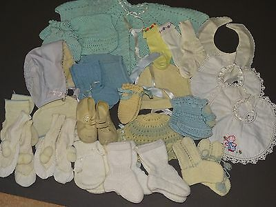 Vintage Baby Booties Socks Hand Mittens Jacket Bonnets Bibs Shoes Large Lot