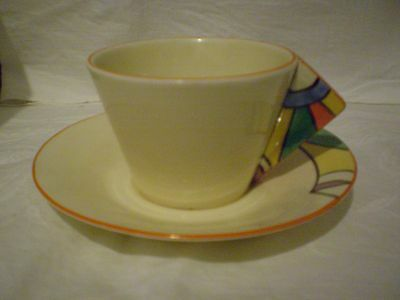 "Clarice Cliff Cup & Saucer Art Deco ""jazz Age"" Early Geometric Design Striking!"
