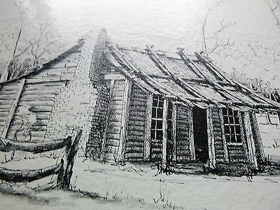 Ink Drawing Of Ned Kelly's  Homestead Eleven Mile Creek Greta Victoria