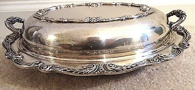 Lidded Silver Plate Silverplate Vegetable Serving Dish Baroque Victorian