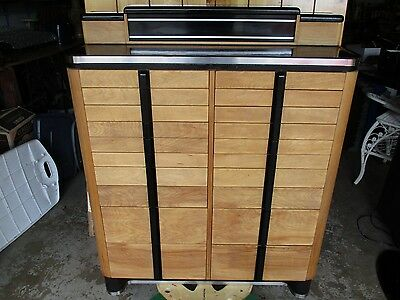 Antique Vtg 18 drawer Dental Medical Cabinet American Cab. Co. wood metal enamel