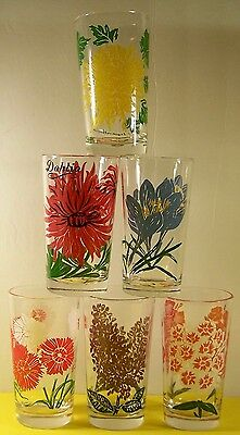 """6 Vintage Boscul Peanut Butter Glasses 5"""" Drinking Glass Lilac"""