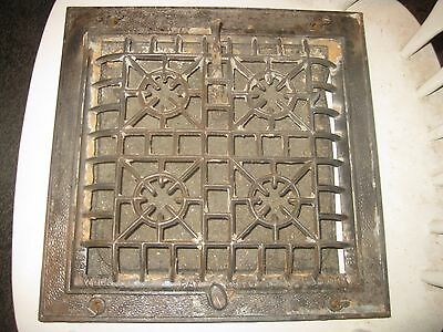 Antique Cast Iron Register Vent Grate Heat Cover Floor Wall 1906 lock well