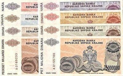 Set Of 8 Uncirculated Dinara  Banknotes from the Serbian Republic of Croatia