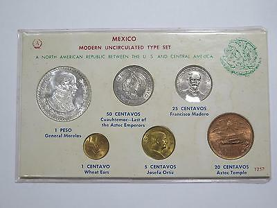 Mexico Modern Unc Type Mint Set Silver Peso 50 Centavos Old Coin Collection Lot