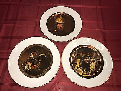 Three Vintage JWK Bavaria Western Germany Portrait Plates - Musketeers