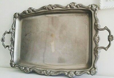 Vintage Decorative Stainless Steel Serving / Tea Tray