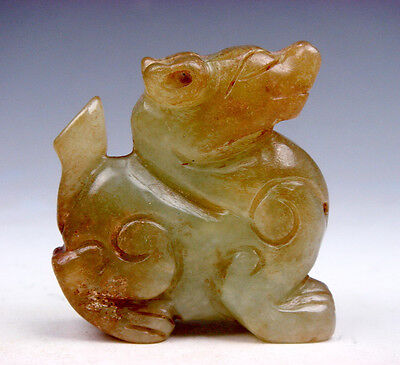 Old Nephrite Jade Hand Carved Sculpture Seated FOO DOG Lion #05201704