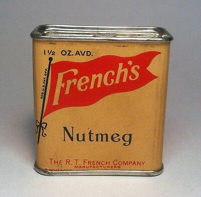 vintage French's Nutmeg spice advertising tin unopened 1950s