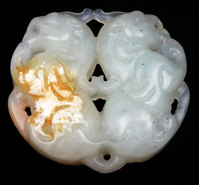 Old Nephrite Jade Hand Carved Pendant Sculpture Double FOO DOG Lions #05201705