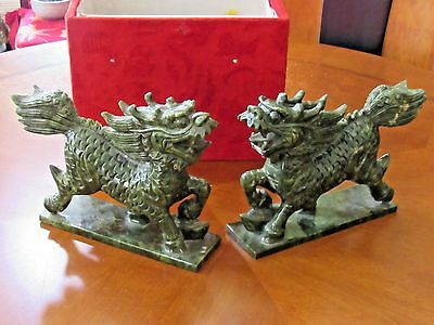 "ESTATE FIND Pair of Chinese Carved Green Jade Foo Dogs  (10"" X 8"")"