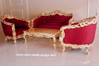 Baroque Sofa Couch Set Antique Solid Gold Leaf Upholstered Furniture Stile Art
