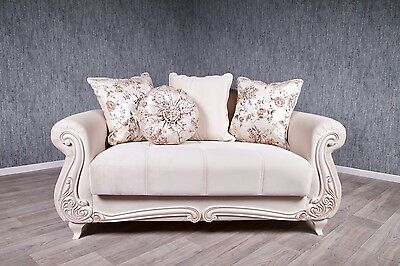 Baroque Sofa Couch Cream Beige Antique Solid Vintage Bed Box with Sleep Function