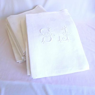 Set 6 (18 total) Vintage French Dinner Napkins Linen/Cotton Hand Embroidered