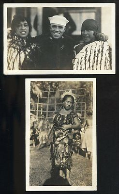 Two 1920 RPPC's Three Gorgeous MAORI WOMEN & One U.S. Sailor NEW ZEALAND