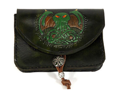 Green Cthulhu Celtic Tobacco Belt Pouch Coin Purse Hand Made Tooled Leather LARP