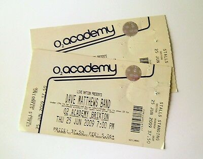 DAVE MATTHEWS MEMORABILIA-Unused Tickets Stub(s) Brixton Academy London 25/06/09