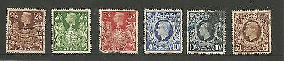 King George VI 1939/48 Arms high values set of 6 SG476-478b fine used  ref 2