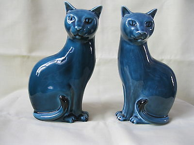 "Vtg Pair Of Poole Pottery Blue Cats Excellent Condition 6.5"" Left & Right Hand"
