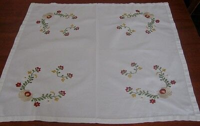 Vintage Embroidered Supper Cloth ~ Cotton ~ White ~ Square