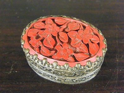 Antique Chinese Export Cinnabar Pot / Box And Cover