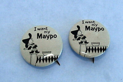 1960s Two Marky Maypo TV Commercial Pinback Buttons Breakfast Cereal Premium